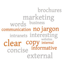 Communication word cloud - brochures, marketing, business, websites, intranets, clear, concise, informative, external